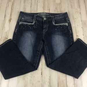 Maurices Womens Jeans 11/12 Reg Blue Embellished
